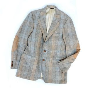 Vintage Wool Plaid Checkered Gray Tan Jacket